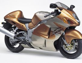 Golden and silver Suzuki Hayabusa