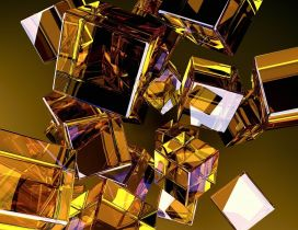 Many golden glass cubes in a 3D wallpaper