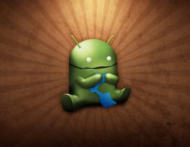 Funny android logo eating - HD wallpaper