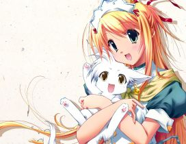 An anime girl with her white kitten