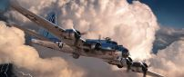 48 Boeing B-17 Plane Flying in the white clouds