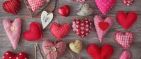 Pink and red hearts cushions on the wood - Love HD wallpaper
