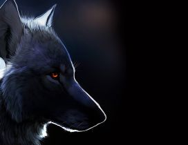 Black wolf drawing - Dark creative wallpaper
