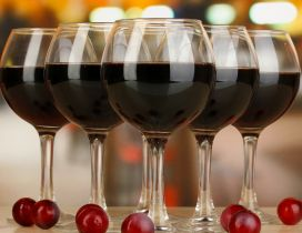 Six glasses with red wine - Drink wallpaper