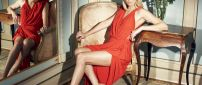 Gorgeous Charlize Theron in a red dress