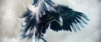 An amazing eagle with opened wings