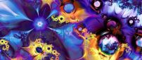 Abstract colorful fractal with many flowers