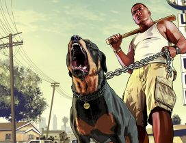 Franklin with his furious dog - GTA Game Wallpaper