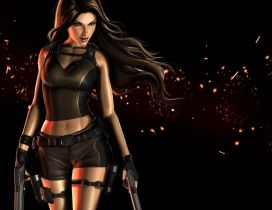 Poster with Lara Croft in Tomb Raider Game