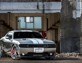 Gray Dodge Challenger SRT8 in a desolate place