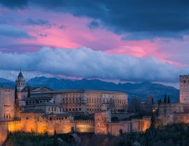 Alhambra landscape in the sunset - Purple sky