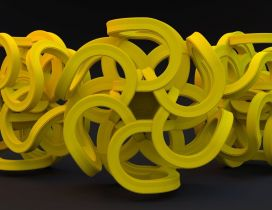 Yellow roller coaster - Abstract 3D wallpaper