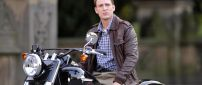 The actor Chris Evans on a motorcycle