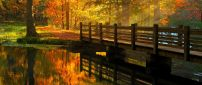 Wooden bridge over the river - beautiful autumn day