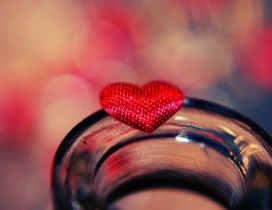 Little red heart on a glass - HD sweet love day