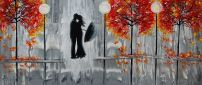 Beautiful grey painting - two lovers in the rain