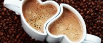 The lovely cups of coffee - hearts shape