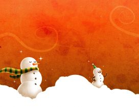 Funny snowmen in the winter wind - HD wallpaper