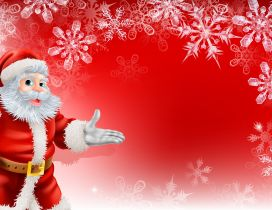 Red Christmas wallpaper - Santa Claus and snowflakes