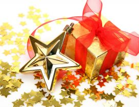 Lots of golden stars and a gift for Christmas