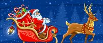 Santa Claus and his big bag with toys - Christmas night
