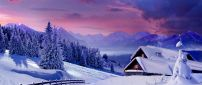 Beautiful winter landscape - house at the white mountain