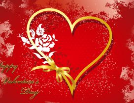 Happy Valentine's Day 2016 - heart and flowers
