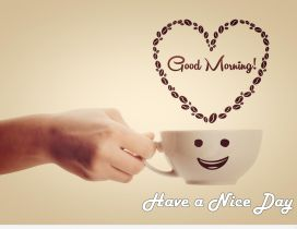 Happy smiley cup of coffee - Good morning