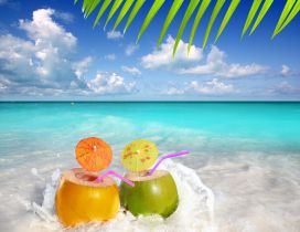 Fresh and cold cocktail at the seaside - HD wallpaper