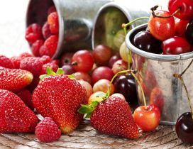 Berries and strawberries - fruits of June