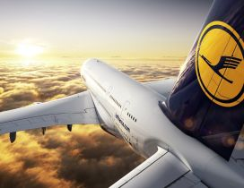 Wonderful fly with planes from Lufthansa over the clouds