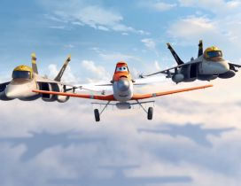 Three funny planes in the sky - Disney film Planes