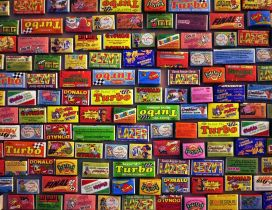 Colored wall full with Turbo stickers - Gum Brand