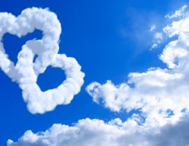 True love on the sky - two hearts made from clouds