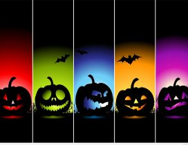 Five funny colorful pumpkins - Happy Halloween