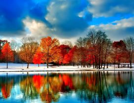 Wonderful Autumn trees - mirror in the lake