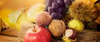 Autumn fruits in a wonderful wallpaper