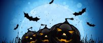 Dark pumpkins in the dark Halloween night