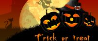 Trick or Treat - dark pumpkins and witch on the sky