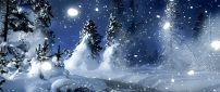 Snowing over the nature - wonderful winter night