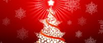 Cute red Christmas tree made by stars - Happy Holiday