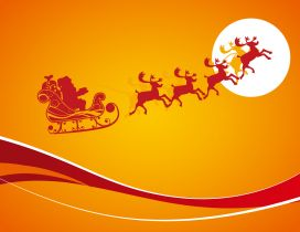 Orange Christmas night - Santa Claus and the reindeers