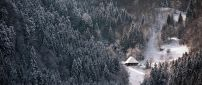 Small cottage in the middle of the forest - Winter season