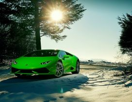 Wonderful raw green Lamborghini car in the snow