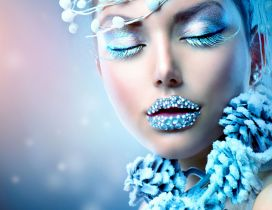 Blue winter make-up on a beautiful face - Big lips