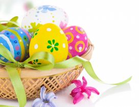 Painted Easter eggs on a basket - Happy Spring Holiday