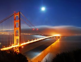 Wonderful bridge in the night - Orange light