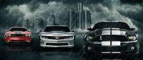 Three wonderful cars in the rain - creative wallpaper