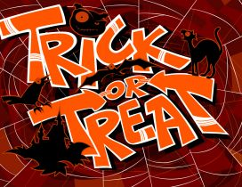 Trick or Treat on a spider-web - Happy Halloween night