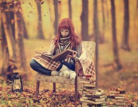 Relaxing time in the forest reading books - HD wallpaper